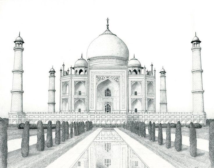 Landscape Drawings In Pencil Taj Mahal By Matanchaffee