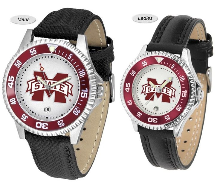 The Competitor Sport Leather Mississippi State Bulldogs Watch is available in your choice of Mens or Ladies styles. Showcases the Bulldogs logo. Free Shipping. Visit SportsFansPlus.com for Details.