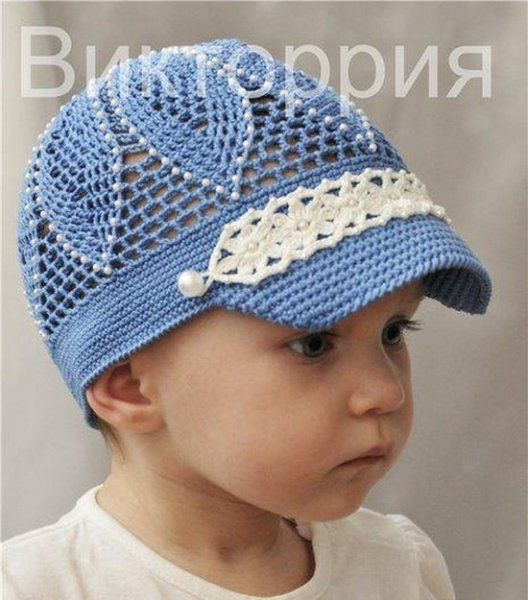 Blue flowered hat for girls; graph