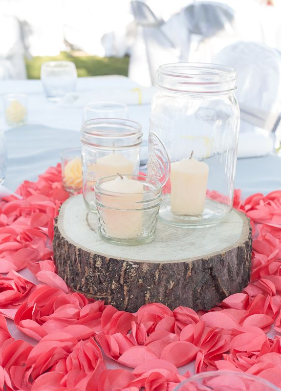 Like this centerpiece idea but have yellow roses in jar with water! and tealight candles around it, maybe 1 bigger jar with the candles.