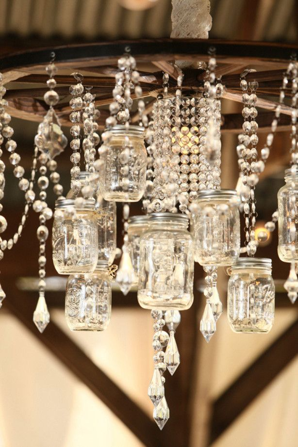 Wagon Wheel and Crystals, the unexpected combination just works. (25 Creative Ways to Light up Mason Jars - Upcycled Treasures)