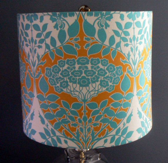 Drum Lamp Shade Teal Botanical Damask Joel By LiteandShadow