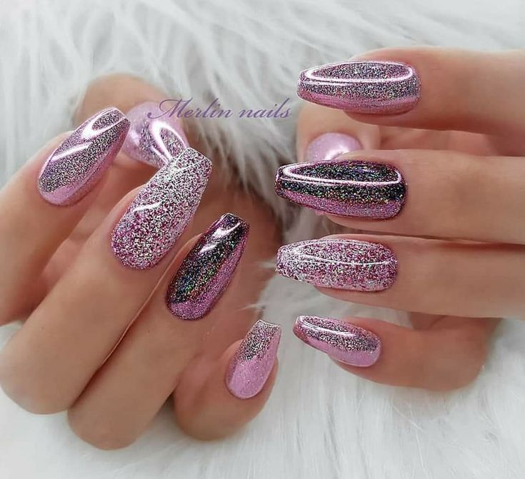 Pink, grey and silver glitter channelled nail art. Fresh nail designs for spring…
