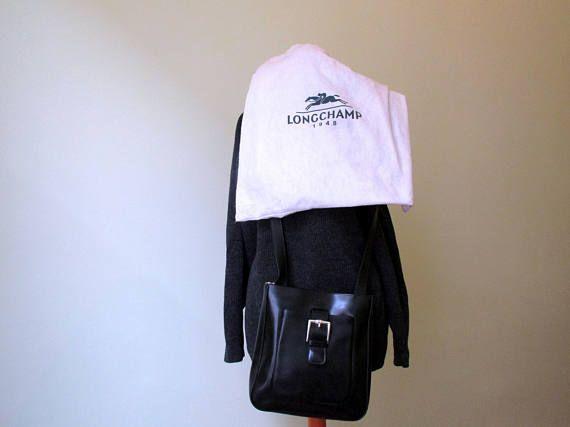 LONGCHAMP-French Luxury Black Leather Crossbody Bag  Black