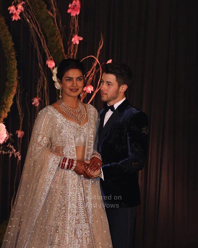 Priyanka Chopra And Nick Jonas Wedding Priyanka Chopra In Custom Falguni Shane Peacock Lehenga For Her Reception Party Ivory Le