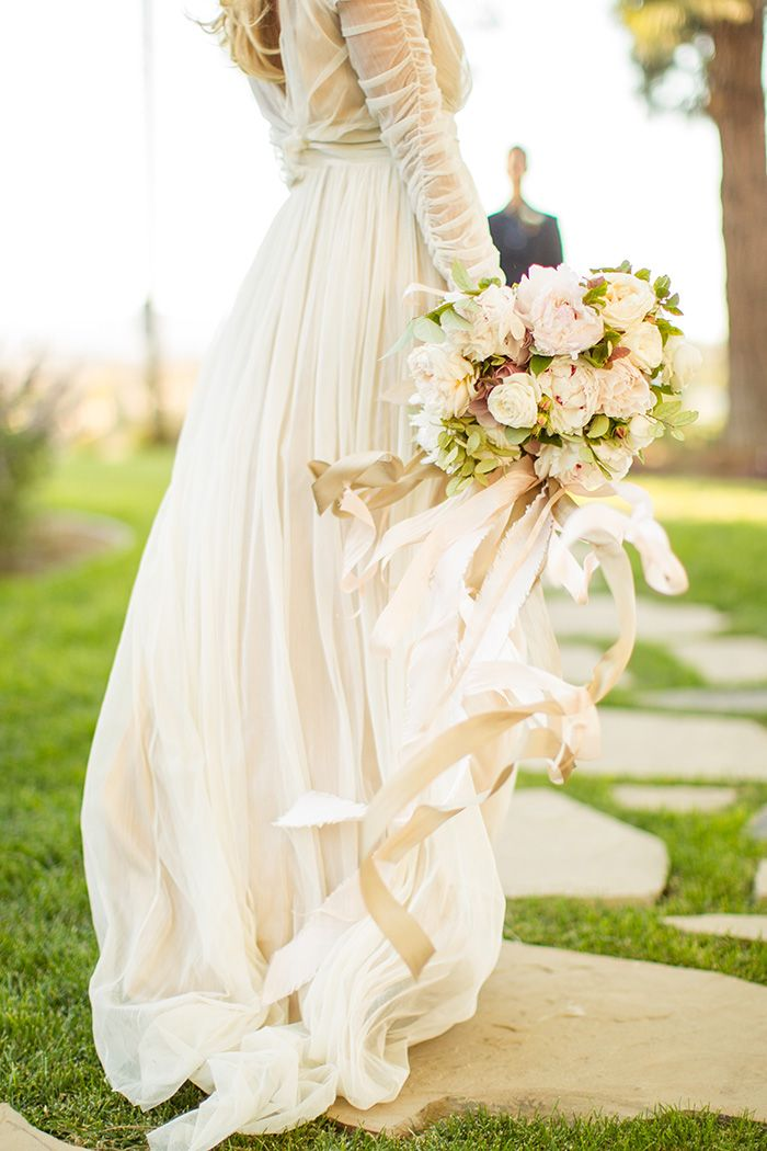 Champagne Chiffon Wedding Dress with a Blush Bouquet | Mike Larson Photography | http://heyweddinglady.com/vintage-winery-wedding-shoot-champagne-gold/