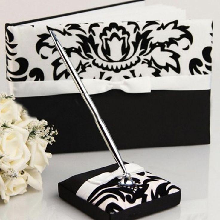 Idoo Elegant Flocking Black & White Guest Book with Pen
