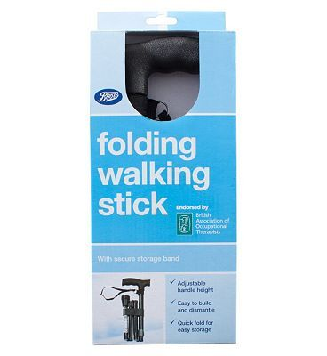 #Boots Pharmaceuticals Boots Folding Walking Stick 10146403 #56 Advantage card points. The Boots Pharmaceuticals Folding Walking Stick is lightweight but able to provide maximum support when in use. FREE Delivery on orders over 45 GBP. (Barcode EAN=5045094861224)