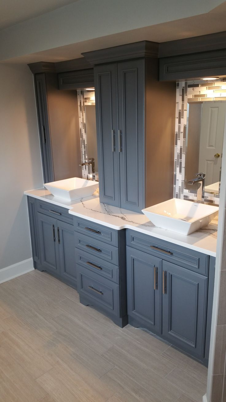 ( The Munsey -Master bath After) Custom Cabinetry with Cambria Brittanica Quartz Countertop, White Vessel Sinks, Mirror Accent: Interlace Color Landscape, Shower Walls&Floor : 6x24 Stratos Silver