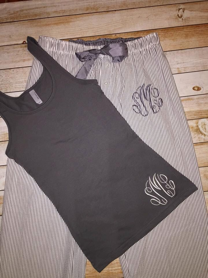 Seersucker Adult Monogrammed Pajama Set, Sleep Wear, Monogram sleep pants, charcoal seersucker by DBKMonograms on Etsy https://www.etsy.com/listing/252583108/seersucker-adult-monogrammed-pajama-set