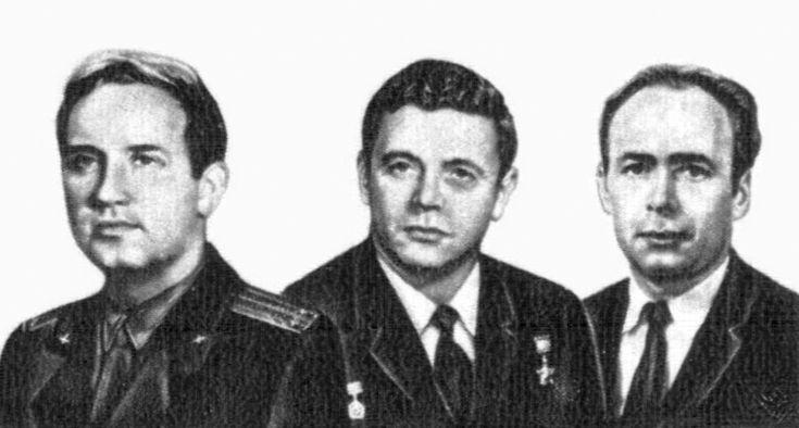 """Soyuz 11 crew. Lt. to Rt. Dobrovolsy, Volkov, Patsayev. They died during the """"Soyuz 11"""" Space Mission, 06/03/1971."""