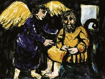 ARTHUR MERRIC BLOOMFIELD BOYD (1920-1999) Abraham and the Angel 1950-51. Ceramic tile.