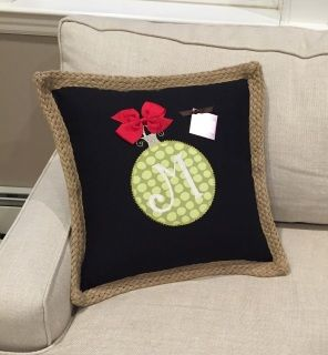 Get into the spirit of the holidays with this beautiful monogrammed ornament pillow cover!