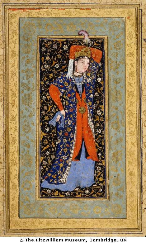 persian dancer with scarves - The miniature can be found in the Fitzwilliam Museum. Done in 1560, it's height is 186 mm and width is 112 mm. It was done in the Bukhara school, created under Abd al-Aziz Khan in the Khanate of Bukhara