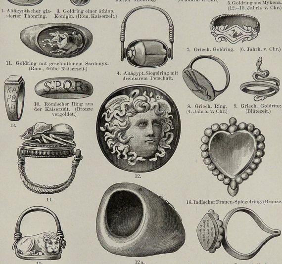1897 antiguo grabado de anillos antiguos. JOYERÍA. Anillos de dedo. Anillos romanos. Anillos de griegos. Jewells. impresión de 119 años.