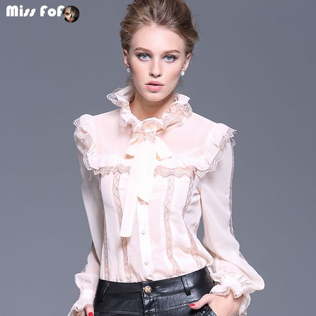 Miss FoFo 2015 autumn plus size clothing of perspectivity basic shirt embroidery lace long-sleeve shirt chiffon shirt US $69.99 /piece To Buy Or See Another Product Click On This Link  http://goo.gl/IdJFhm