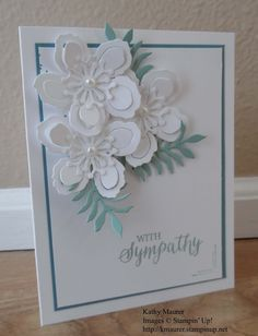 Sympathy Card made with Stampin' Up!'s Botanical Builders Framelits. For details, go to my Monday April 18, 2016, blog at http://kmaurer.stampinup.net