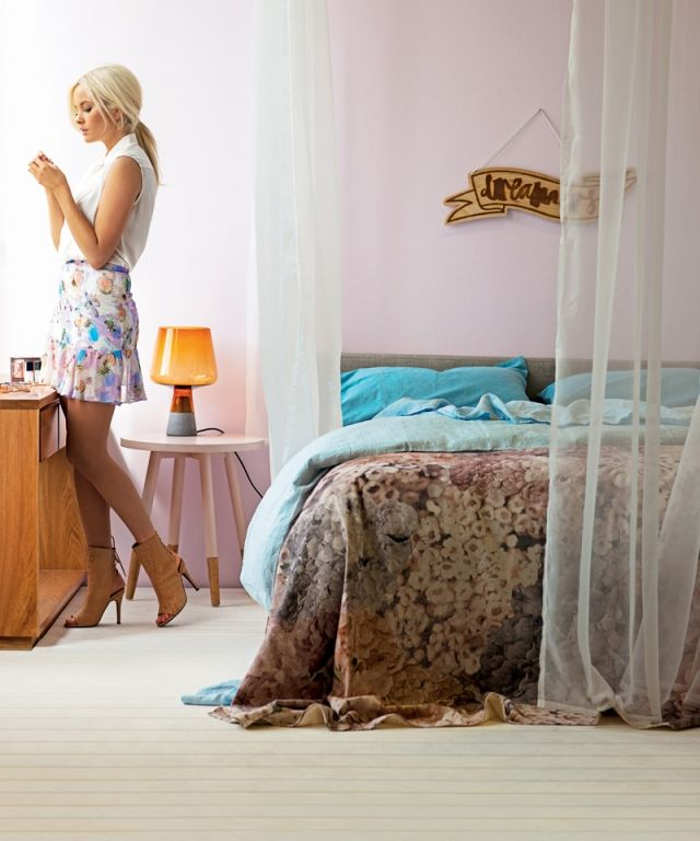 FLOWER PATCH THROW | PONY RIDER | MODERN BEDDING | FLORAL THROW | BED SPREAD | REAL LIVING MAG