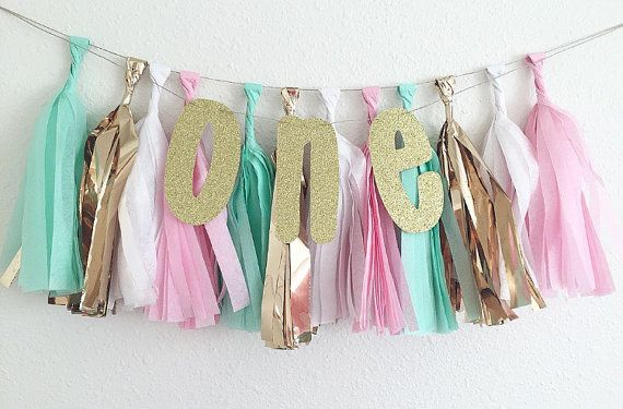 One Glitter Tissue Tassel Banner ~ Pink Mint Gold White Decor ~ High Chair Banner ~ First Birthday High Chair Banner ~ Pink and Gold Party