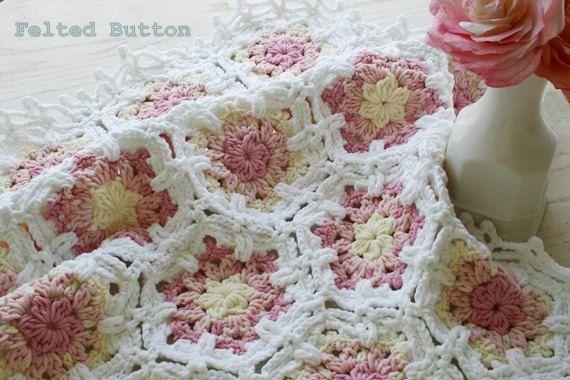 Crochet Pattern, Baby Blanket, Vintage Fleur, Shabby Chic