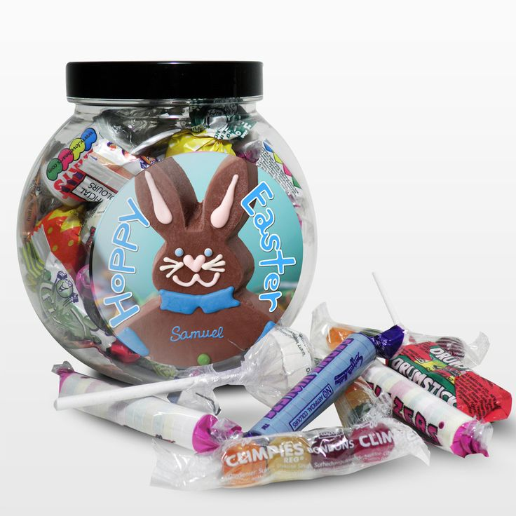 22 best easter images on pinterest easter gift personalised personalise this blue bunny sweet jar label with any name up to 12 characters to make a great easter present the wording hoppy easter is fixed text negle Gallery