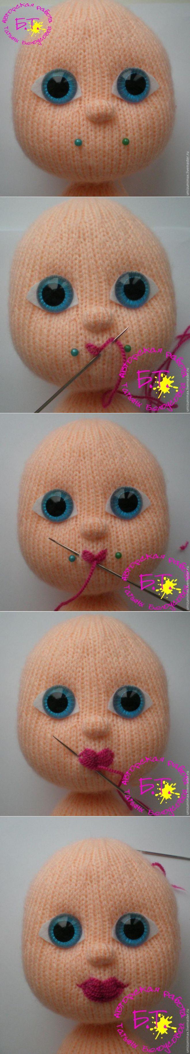 Cómo coser una muñeca de los labios del arco de punto - en sí mago