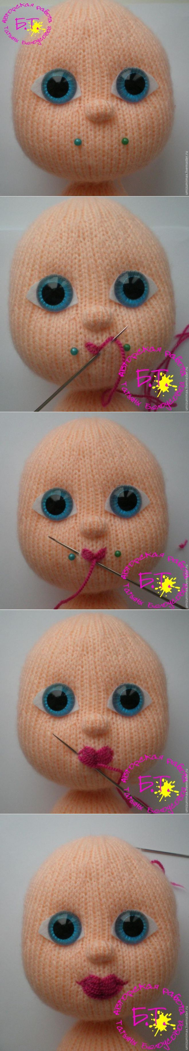 How to sew a bow lips knitted doll - himself a magician