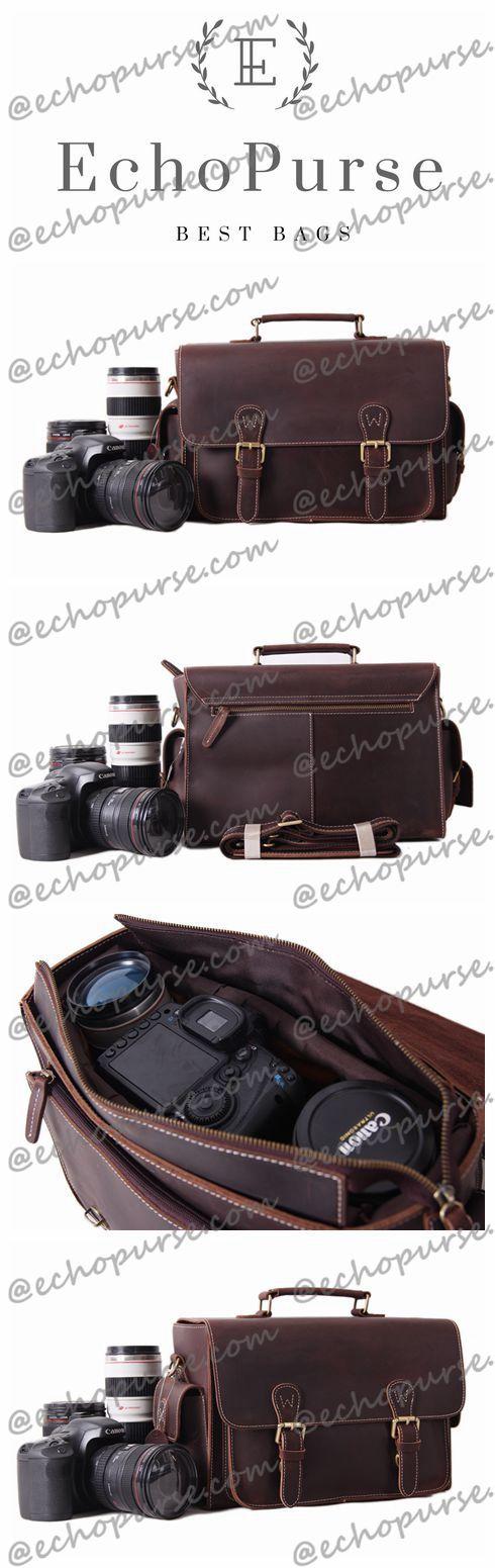 Vintage Genuine Leather DSLR Camera Bag, SLR Camera Pouch, Leather Camera Purse 6919