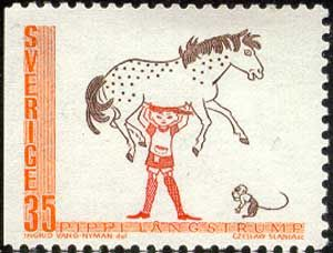 Sweden pays tribute to Pippi, as well. This is from a 1969 release