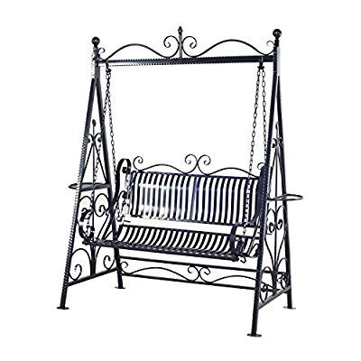 Outsunny Garden Metal Swing Chair Outdoor Patio Hammock Bench Cast Iron Swinging Seat Vintage Style Shabby Chic