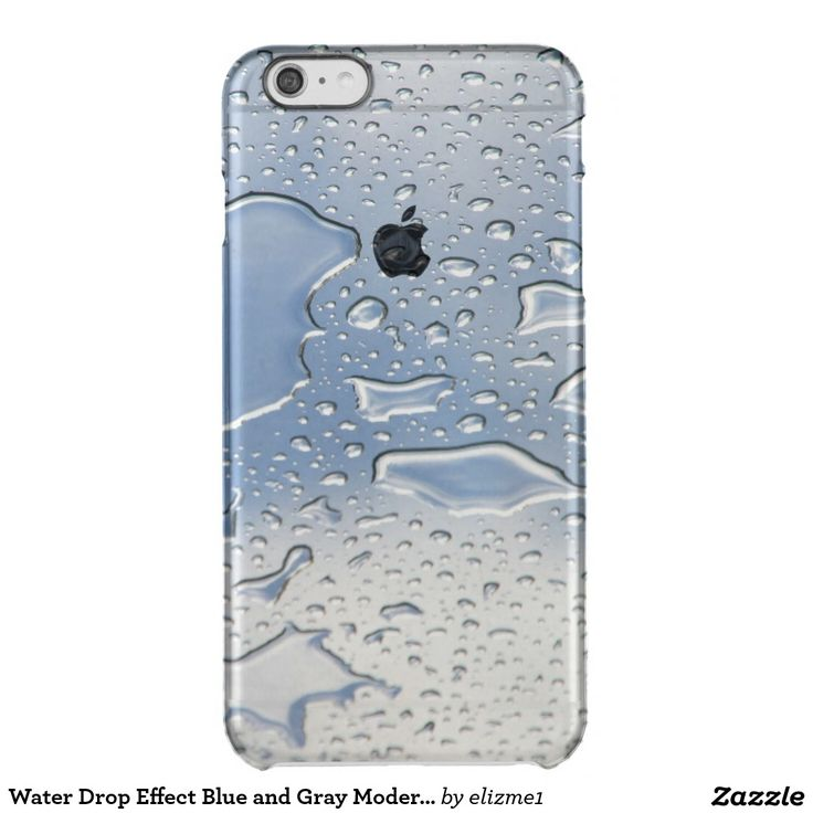 Water Drop Effect Blue and Gray Modern iPhone Case A transparent iPhone case with a water drop wet look, a printed image of drops of water in blue and gray creates an exciting, modern phone case.