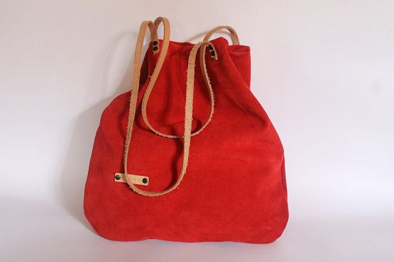 Tote bag Red suede leather womens bag every day bag by BYildi