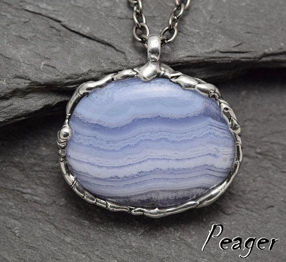 Chalcedony pendantBohemian PendantSoldered necklaceBlue