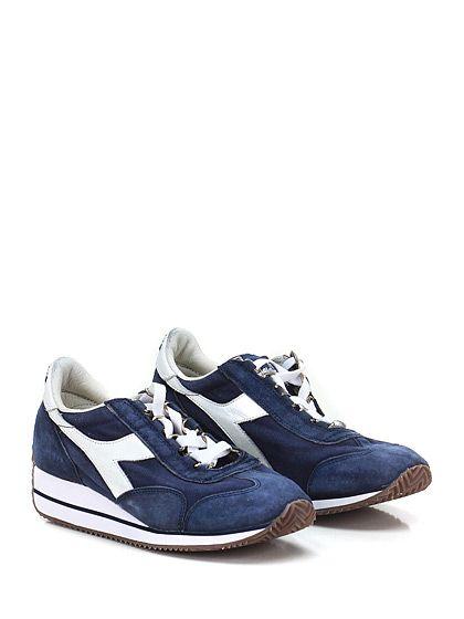 DIADORA Heritage - Sneakers - Donna - Sneaker in tessuto e camoscio effetto vintage con suola in gomma. Tacco 30, platform 10 con battuta 20. - DENIM\WHITE - € 165.00