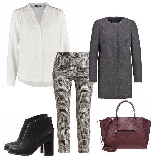 Outfit ideale per una giornata lavorativa o un colloquio di lavoro, molto semplice e professionale ma allo stesso tempo alla moda e glam. Molto pratico per la borsa capiente i comodi stivaletti.