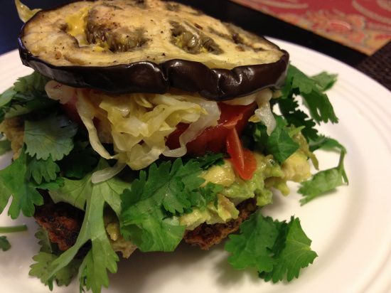 Great low carb option for grilling on Memorial Day! Monster Turkey or Veggie Burger with Eggplant Bun (Gluten-free, Sugar-free, Dairy-free)
