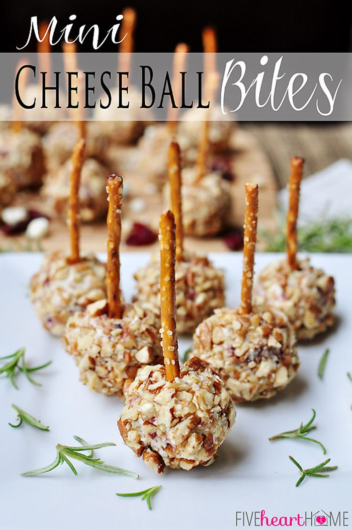 Mini Cheese Ball Bites ~ easy appetizers featuring dried cranberries, blue cheese, toasted pecans, and pretzel skewers | {Five Heart Home}