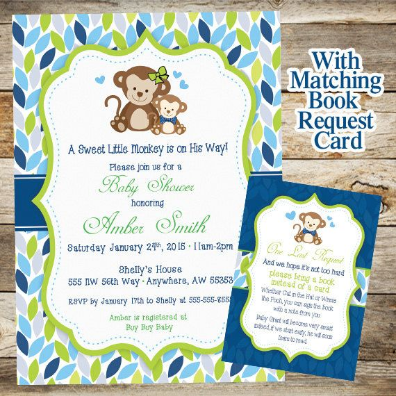 Monkey Baby Shower Invitation Baby Shower by JustRightDesigns954