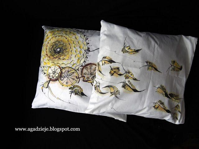 agadzieje: Żółty łapacz snów 2 ( malowanie na tkaninie )