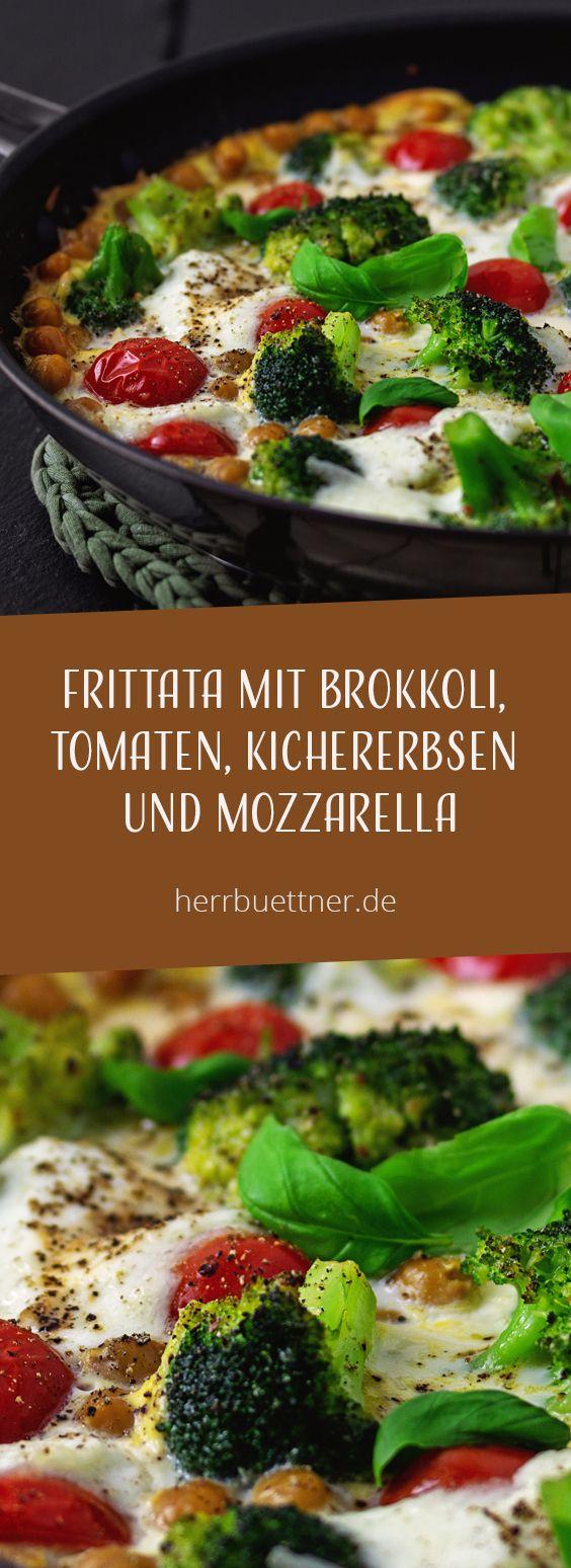 Frittata mit Brokkoli, Kichererbsen, Tomaten und Mozzarella. – Veggie Time / Vegetarische Rezepte