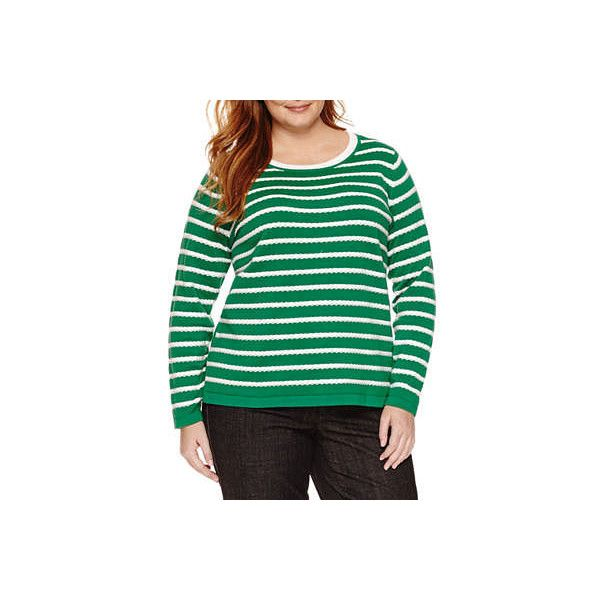 Liz Claiborne Long Sleeve Scoop Neck Pullover Sweater-Plus, Green... ($9.99) ❤ liked on Polyvore featuring plus size women's fashion, plus size clothing, plus size tops, plus size sweaters, green long sleeve top, green sweater, scoop neck sweater, pullover sweater and liz claiborne