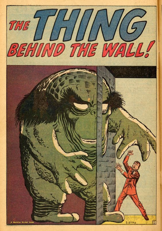 """""""The Thing behind the Wall!"""" from Journey Into Mystery 66 (March 1961) - Art by Steve Ditko"""