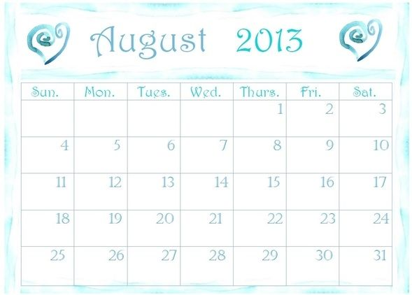 August 2013 Calendar Printable → http://www.embracinghome.com/august-2013-calendar-printable/