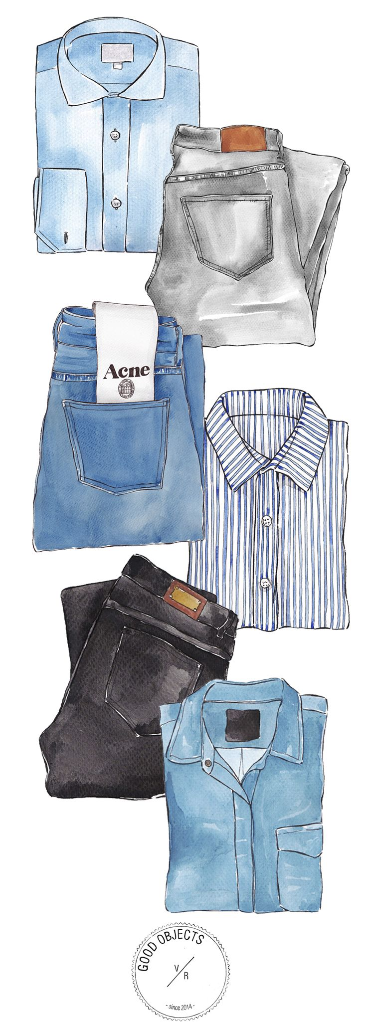 Good Objects - 3 minimal outfits, denim and shirt #goodobjects #watercolor #illustration