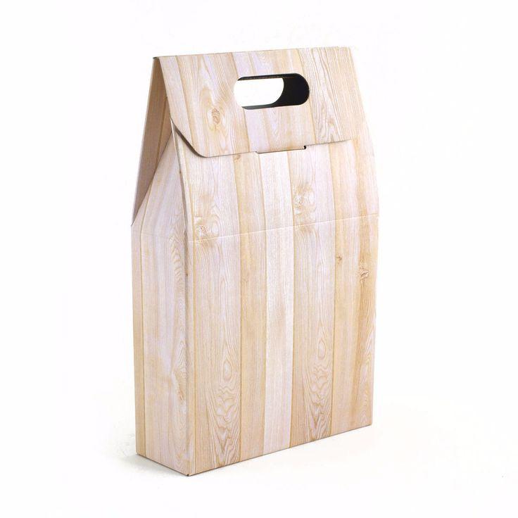 Caja de 3 botellas con asa Wood