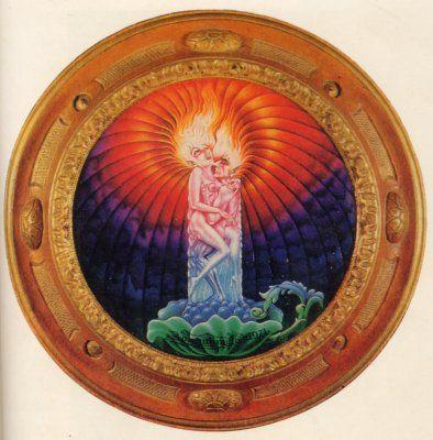 妖炎 A doubtful flame 1974年「妖炎」 30X30cm木製円板・油彩  銀座ギャラリーデコール