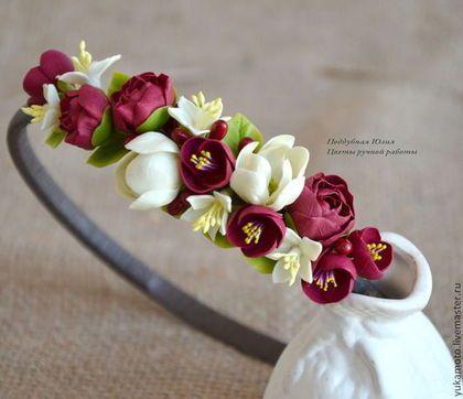 """""""Ксения"""" обруч - подарок,оригинальный венок,пионы,бордовый,ванильный,обруч с бордовыми цветами"""