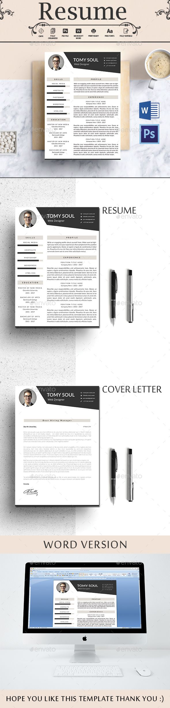 Resume Template PSD,  Ms Word .docx