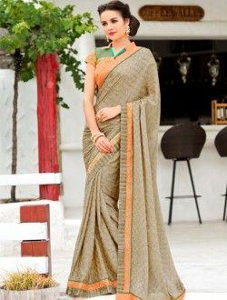 Party Wear Beige Banglori Silk Heavy Embroidery Work Saree