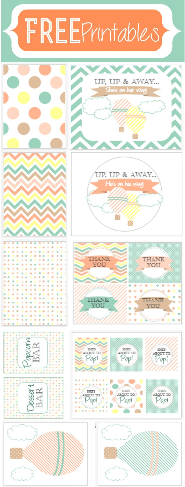 free printables - hot air balloon shower